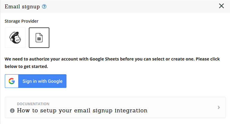 Email signup Google Sign In